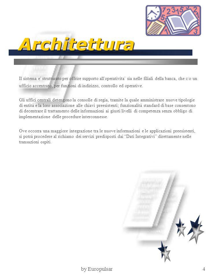 by Europulsar4 Architettura Il sistema e strutturato per offrire supporto all operativita sia nelle filiali della banca, che c/o un ufficio accentrato, per funzioni di indirizzo, controllo ed operative.