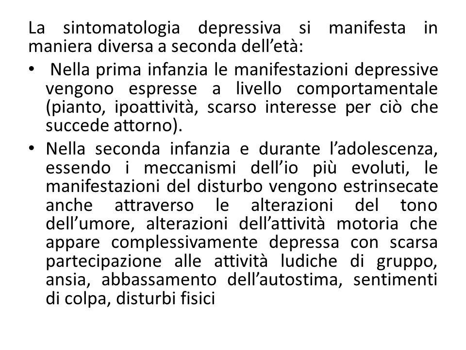 La depressione infantile (5) La depressione dell'età evolutiva è caratterizzata da: Aspetto triste con difficoltà a provare piacere.