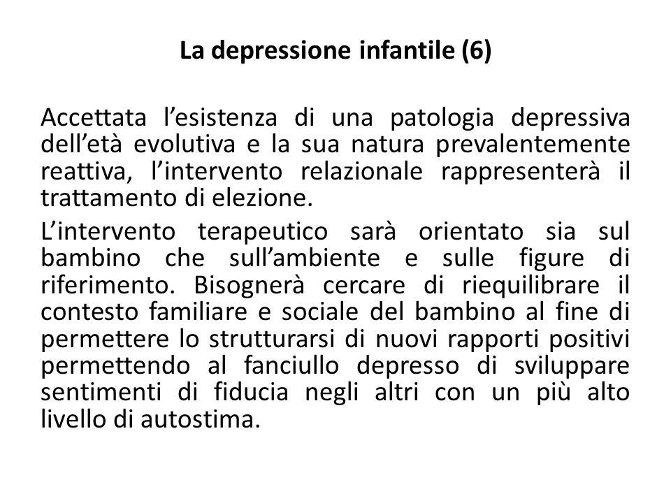 La depressione infantile (7) Al momento si sostiene che la maggior parte delle forme depressive dell'età evolutive siano di breve durata legate prevalentemente ad un evento traumatizzante che implica la perdita dell'oggetto amato.