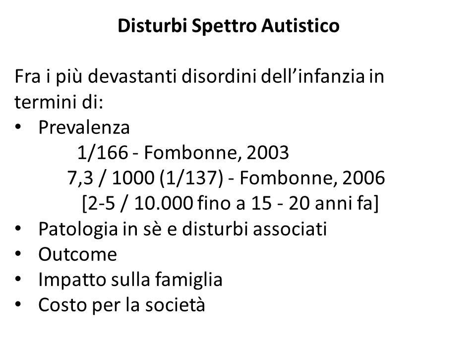 Disturbi Spettro Autistico Fra i più devastanti disordini dell'infanzia in termini di: Prevalenza 1/166 - Fombonne, 2003 7,3 / 1000 (1/137) - Fombonne, 2006 [2-5 / 10.000 fino a 15 - 20 anni fa] Patologia in sè e disturbi associati Outcome Impatto sulla famiglia Costo per la società