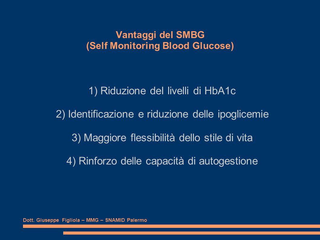 Vantaggi del SMBG (Self Monitoring Blood Glucose) 1) Riduzione deI livelli di HbA1c 2) Identificazione e riduzione delle ipoglicemie 3) Maggiore flessibilità dello stile di vita 4) Rinforzo delle capacità di autogestione Dott.