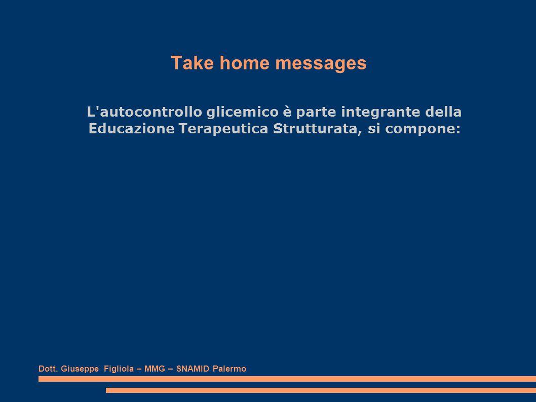 Take home messages L autocontrollo glicemico è parte integrante della Educazione Terapeutica Strutturata, si compone: Dott.