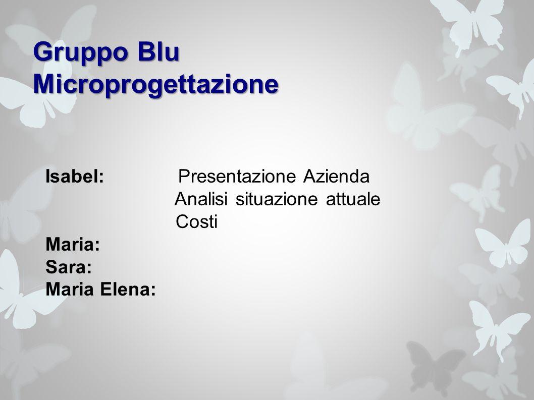 Gruppo Blu Microprogettazione Isabel: Presentazione Azienda Analisi situazione attuale Costi Maria: Sara: Maria Elena: