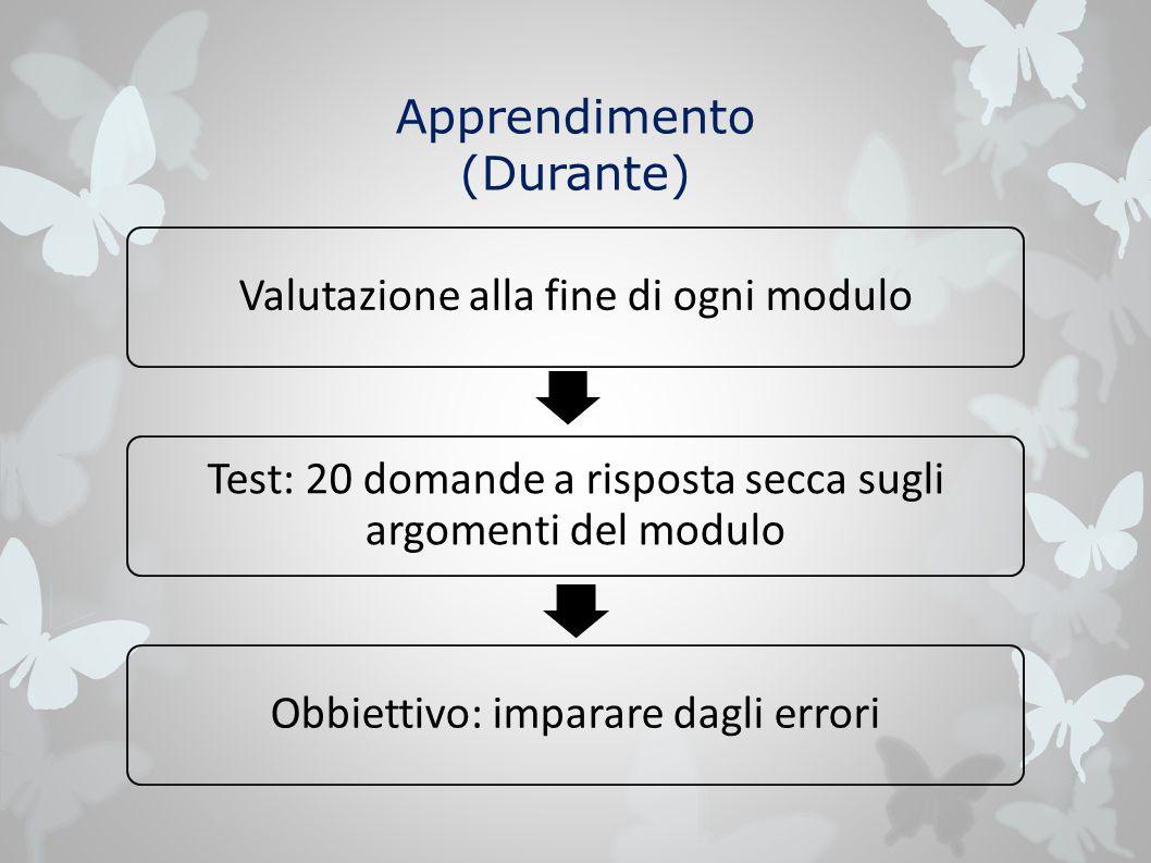 Apprendimento (Durante) Valutazione alla fine di ogni modulo Test: 20 domande a risposta secca sugli argomenti del modulo Obbiettivo: imparare dagli errori