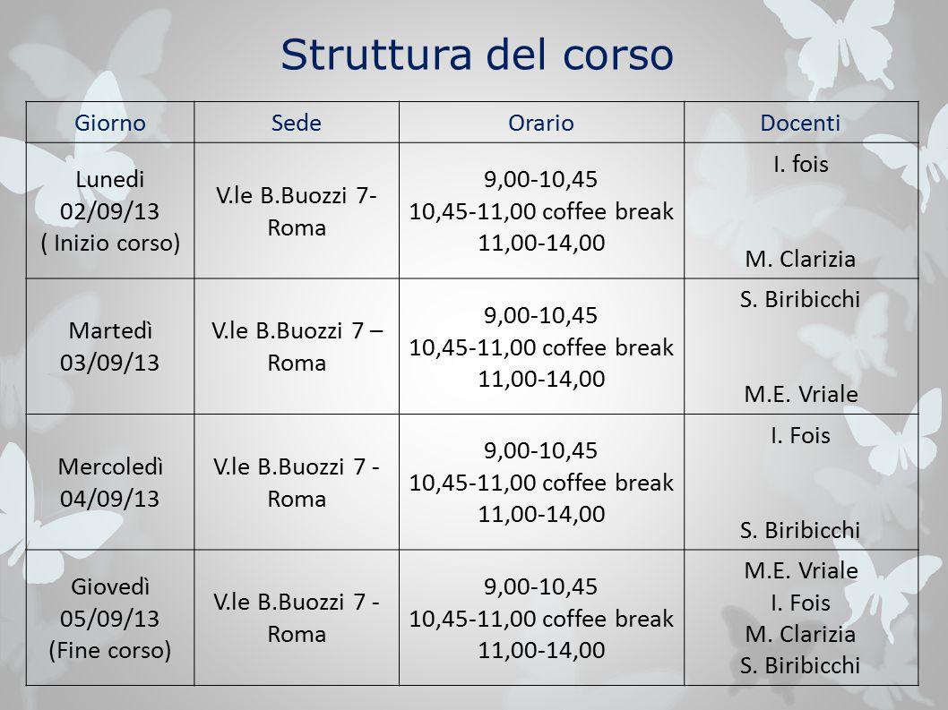 Struttura del corso GiornoSedeOrarioDocenti Lunedi 02/09/13 ( Inizio corso) V.le B.Buozzi 7- Roma 9,00-10,45 10,45-11,00 coffee break 11,00-14,00 I.
