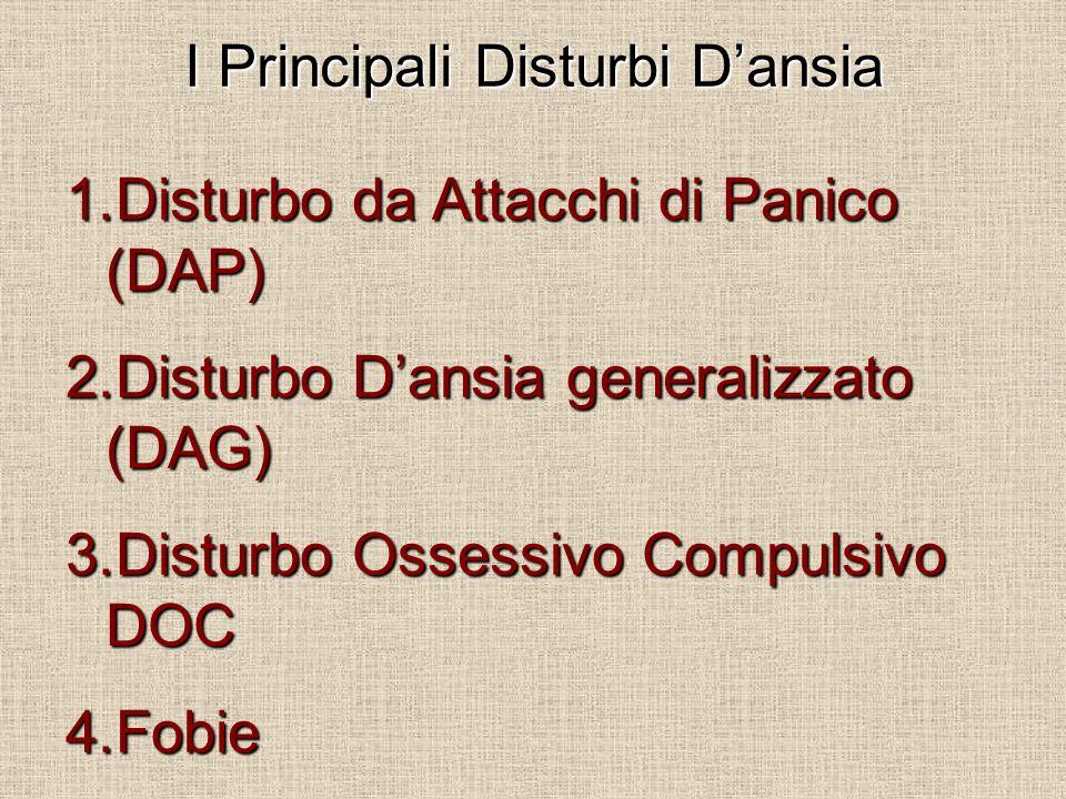 I Principali Disturbi D'ansia 1.Disturbo da Attacchi di Panico (DAP) 2.Disturbo D'ansia generalizzato (DAG) 3.Disturbo Ossessivo Compulsivo DOC 4.Fobi