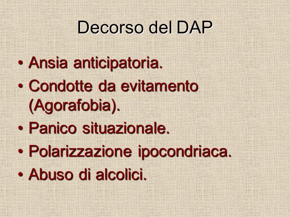 Decorso del DAP Ansia anticipatoria.Ansia anticipatoria. Condotte da evitamento (Agorafobia).Condotte da evitamento (Agorafobia). Panico situazionale.