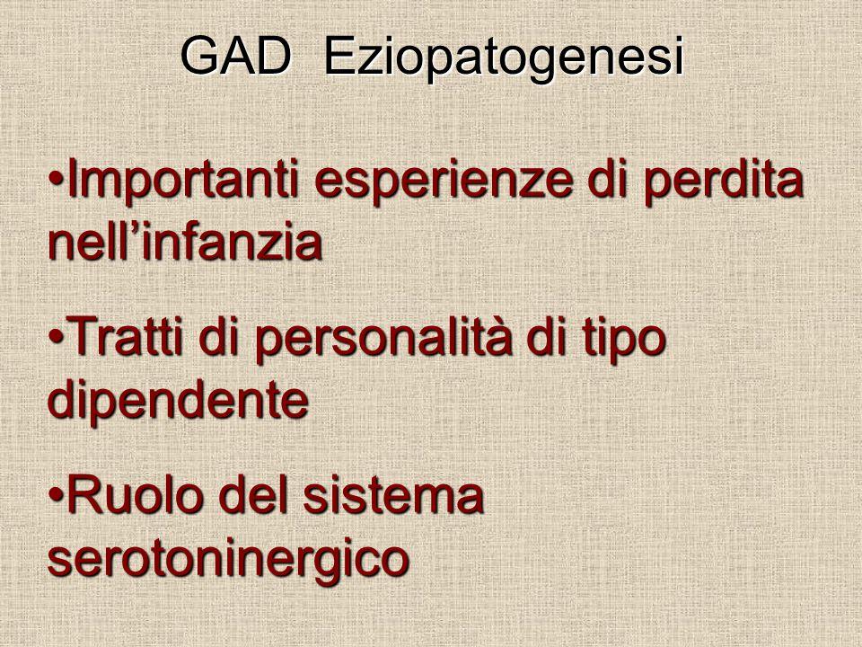 GAD Eziopatogenesi Importanti esperienze di perdita nell'infanziaImportanti esperienze di perdita nell'infanzia Tratti di personalità di tipo dipendenteTratti di personalità di tipo dipendente Ruolo del sistema serotoninergicoRuolo del sistema serotoninergico