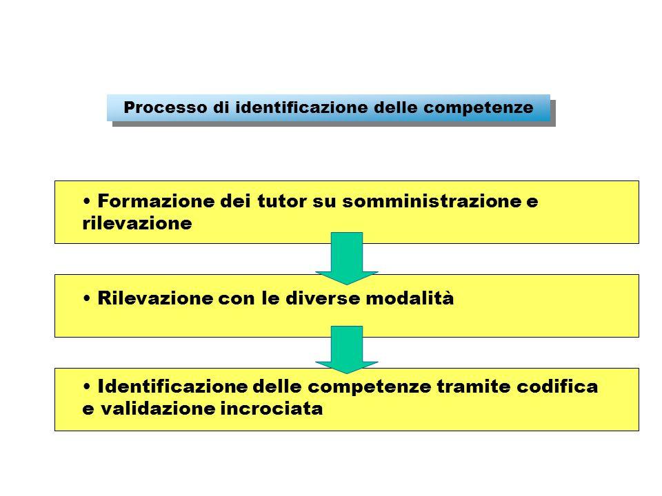 Processo di identificazione delle competenze Formazione dei tutor su somministrazione e rilevazione Rilevazione con le diverse modalità Identificazione delle competenze tramite codifica e validazione incrociata