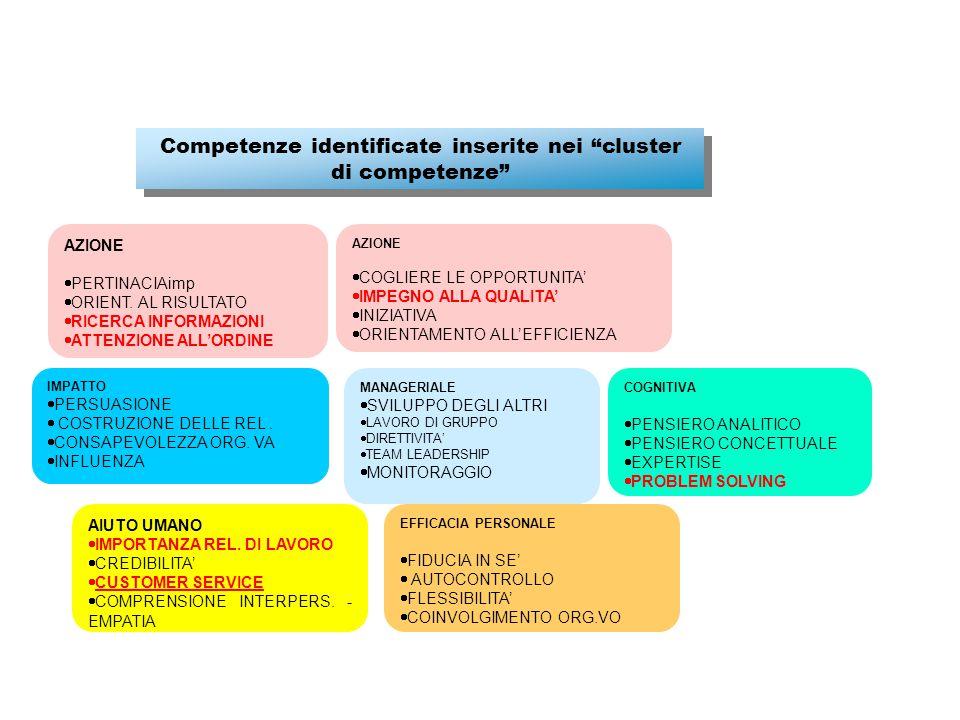 Competenze identificate inserite nei cluster di competenze COGNITIVA  PENSIERO ANALITICO  PENSIERO CONCETTUALE  EXPERTISE  PROBLEM SOLVING AZIONE  COGLIERE LE OPPORTUNITA'  IMPEGNO ALLA QUALITA'  INIZIATIVA  ORIENTAMENTO ALL'EFFICIENZA AZIONE  PERTINACIAimp  ORIENT.