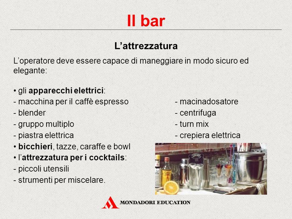 Nel bar distinguiamo tre zone: Il banco, con alle spalle la bottigliera L'office, locale di servizio con: - tavoli di lavoro - scaffali per attrezzature e scorte - frigoriferi - altra attrezzatura.