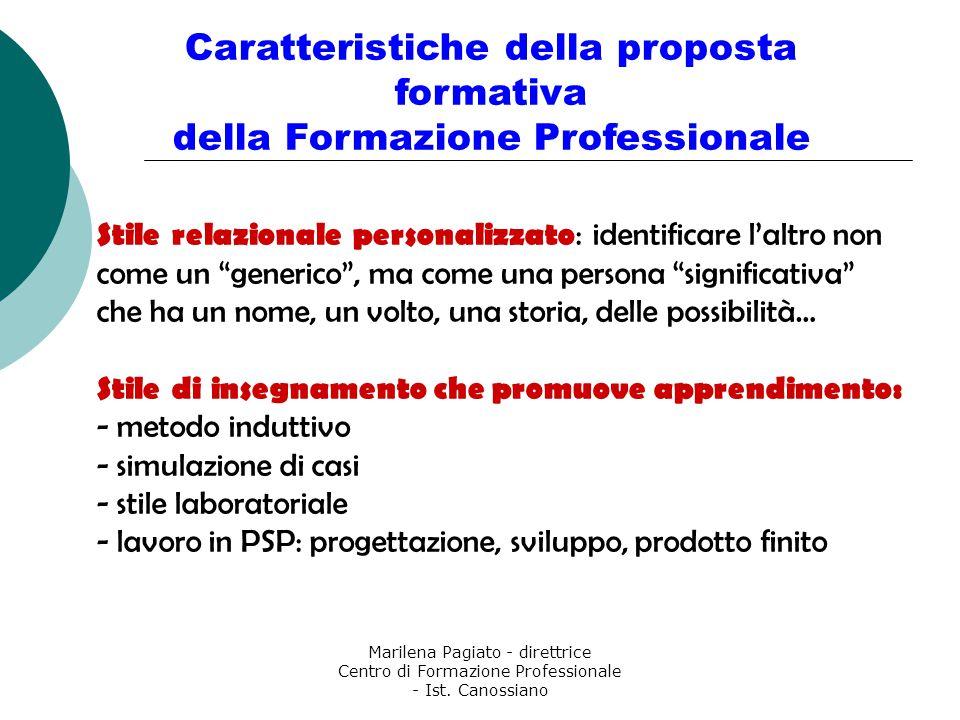 Marilena Pagiato - direttrice Centro di Formazione Professionale - Ist. Canossiano Caratteristiche della proposta formativa della Formazione Professio