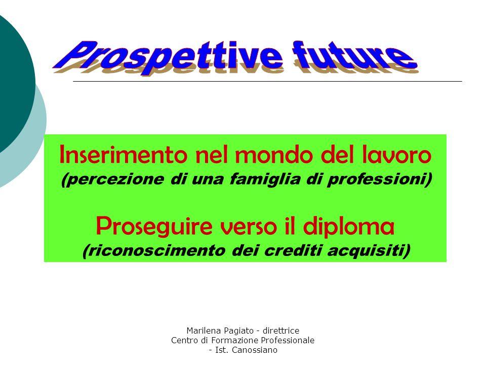 Marilena Pagiato - direttrice Centro di Formazione Professionale - Ist. Canossiano Inserimento nel mondo del lavoro (percezione di una famiglia di pro
