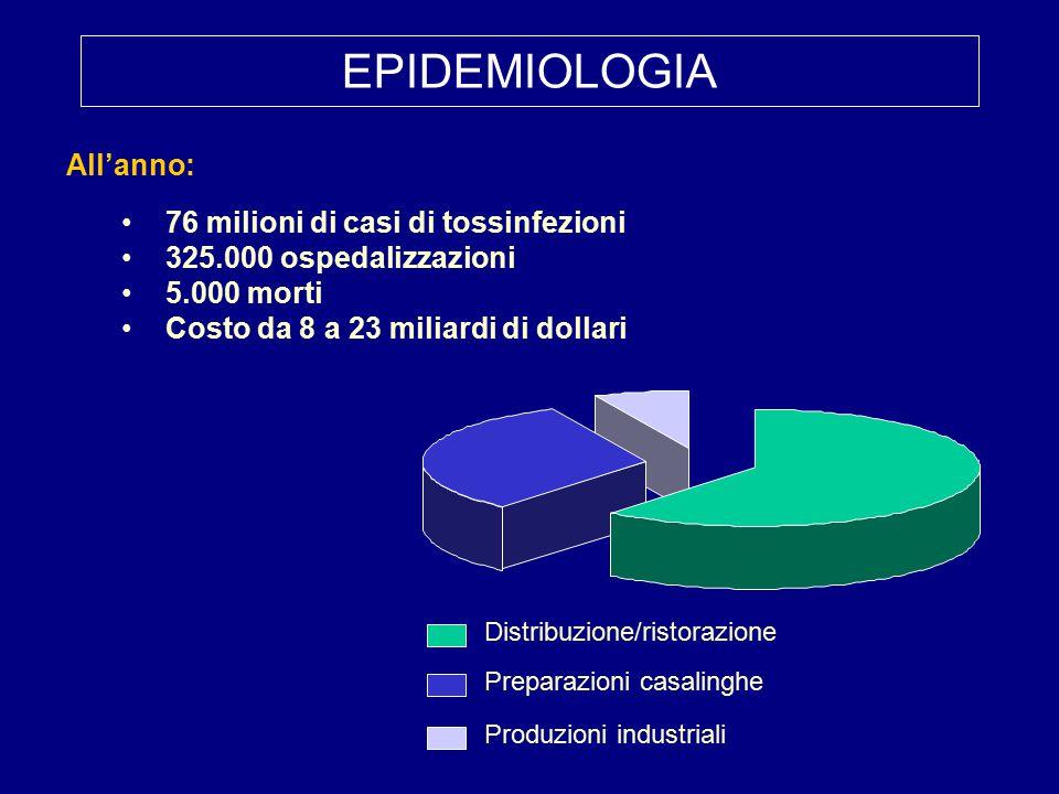 All'anno: 76 milioni di casi di tossinfezioni 325.000 ospedalizzazioni 5.000 morti Costo da 8 a 23 miliardi di dollari Distribuzione/ristorazione Preparazioni casalinghe Produzioni industriali EPIDEMIOLOGIA