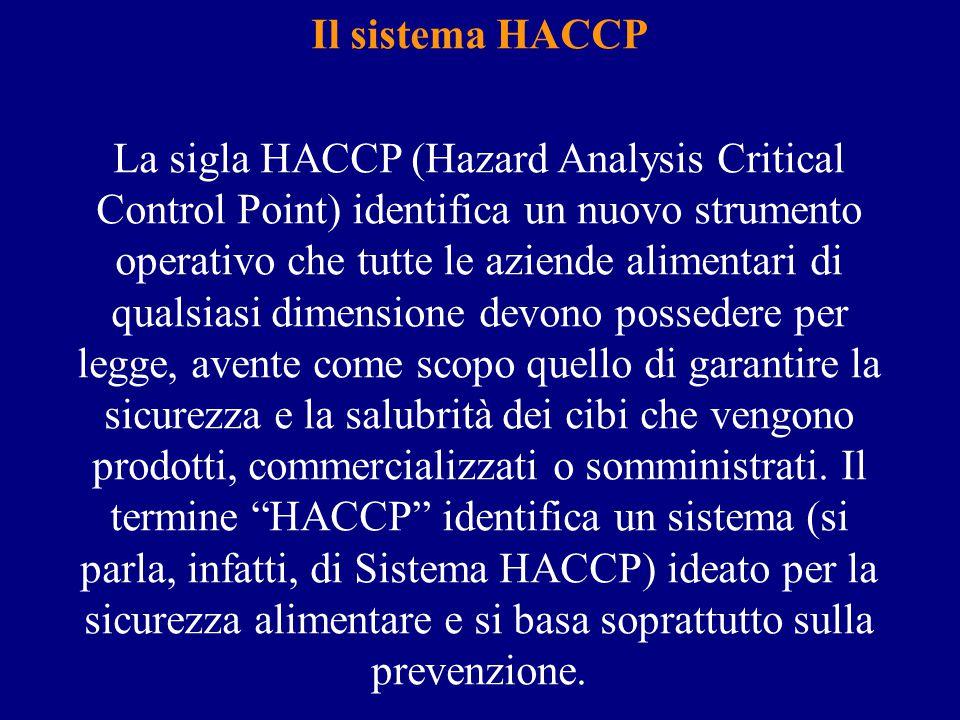 Il sistema HACCP La sigla HACCP (Hazard Analysis Critical Control Point) identifica un nuovo strumento operativo che tutte le aziende alimentari di qualsiasi dimensione devono possedere per legge, avente come scopo quello di garantire la sicurezza e la salubrità dei cibi che vengono prodotti, commercializzati o somministrati.