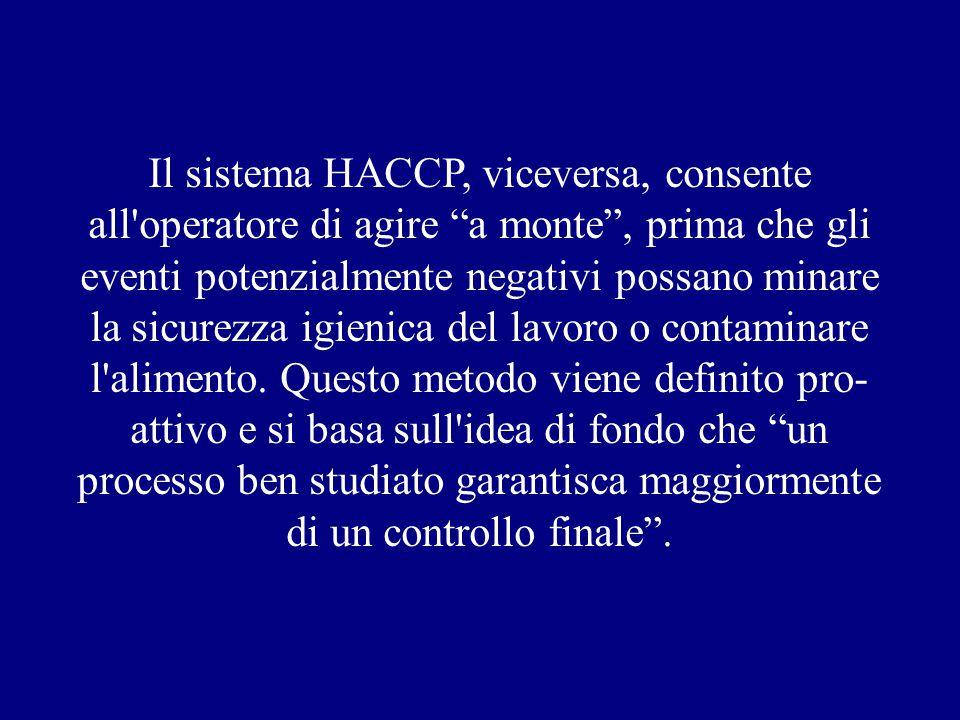 Il sistema HACCP, viceversa, consente all operatore di agire a monte , prima che gli eventi potenzialmente negativi possano minare la sicurezza igienica del lavoro o contaminare l alimento.