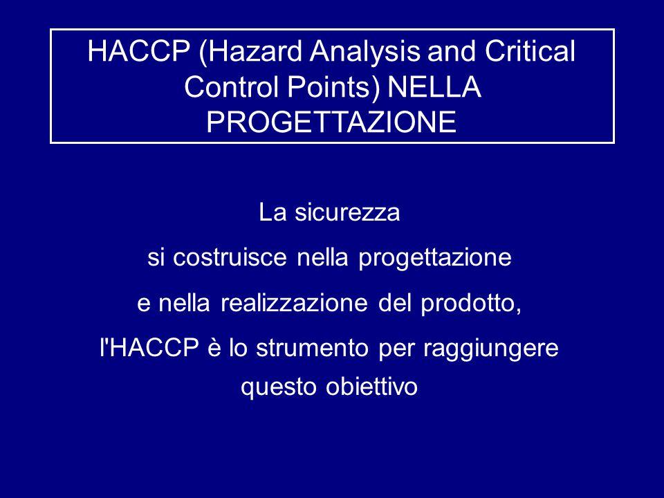 HACCP (Hazard Analysis and Critical Control Points) NELLA PROGETTAZIONE La sicurezza si costruisce nella progettazione e nella realizzazione del prodotto, l HACCP è lo strumento per raggiungere questo obiettivo