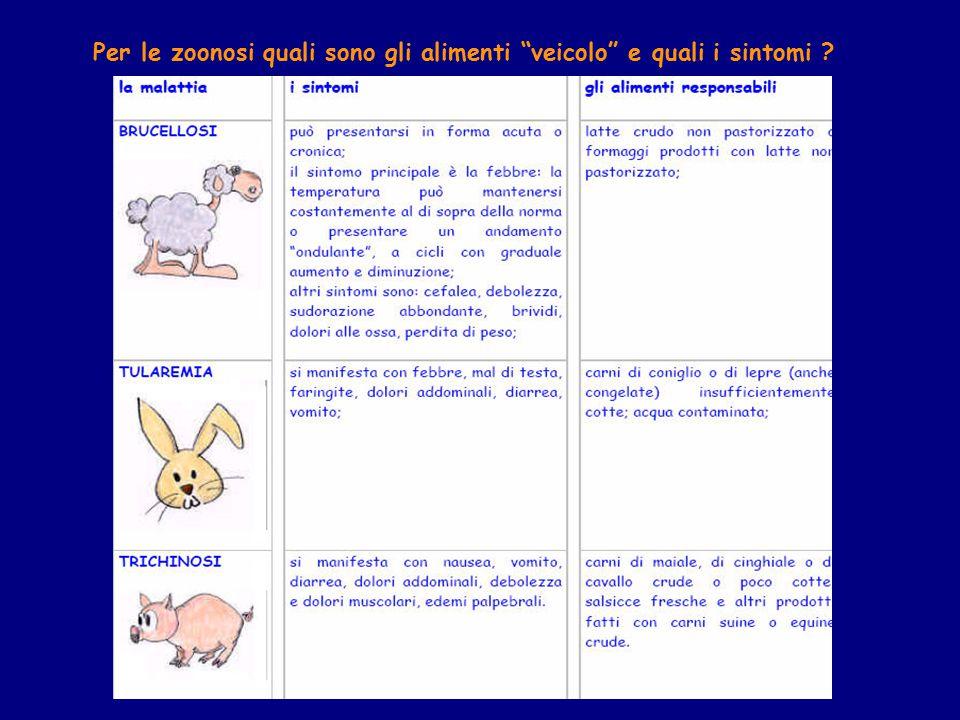Per le zoonosi quali sono gli alimenti veicolo e quali i sintomi ?