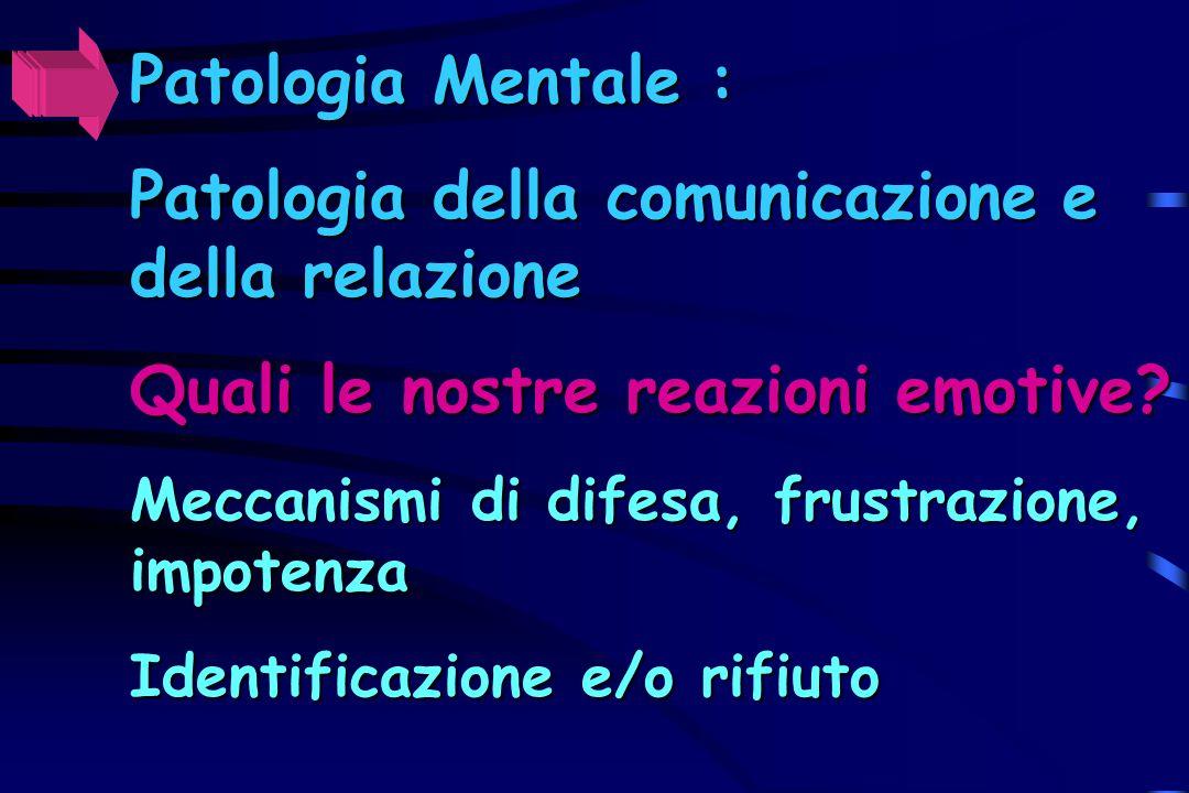 Patologia Mentale : Patologia della comunicazione e della relazione Quali le nostre reazioni emotive? Meccanismi di difesa, frustrazione, impotenza Id