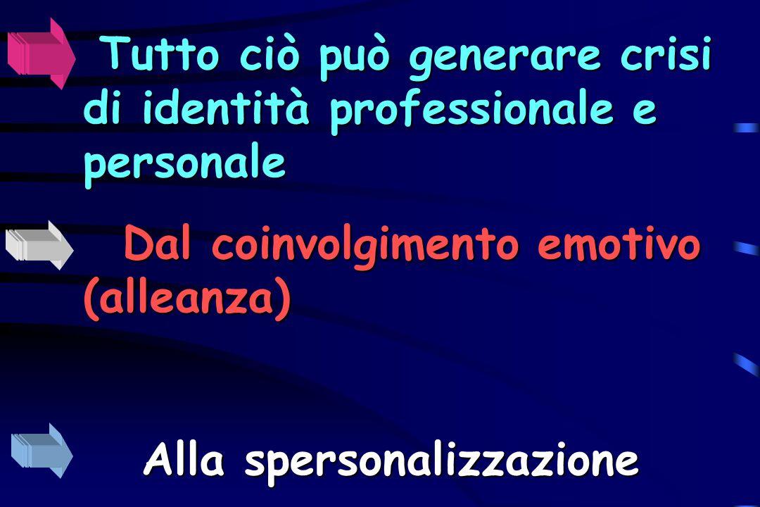 Tutto ciò può generare crisi di identità professionale e personale Dal coinvolgimento emotivo (alleanza) Alla spersonalizzazione