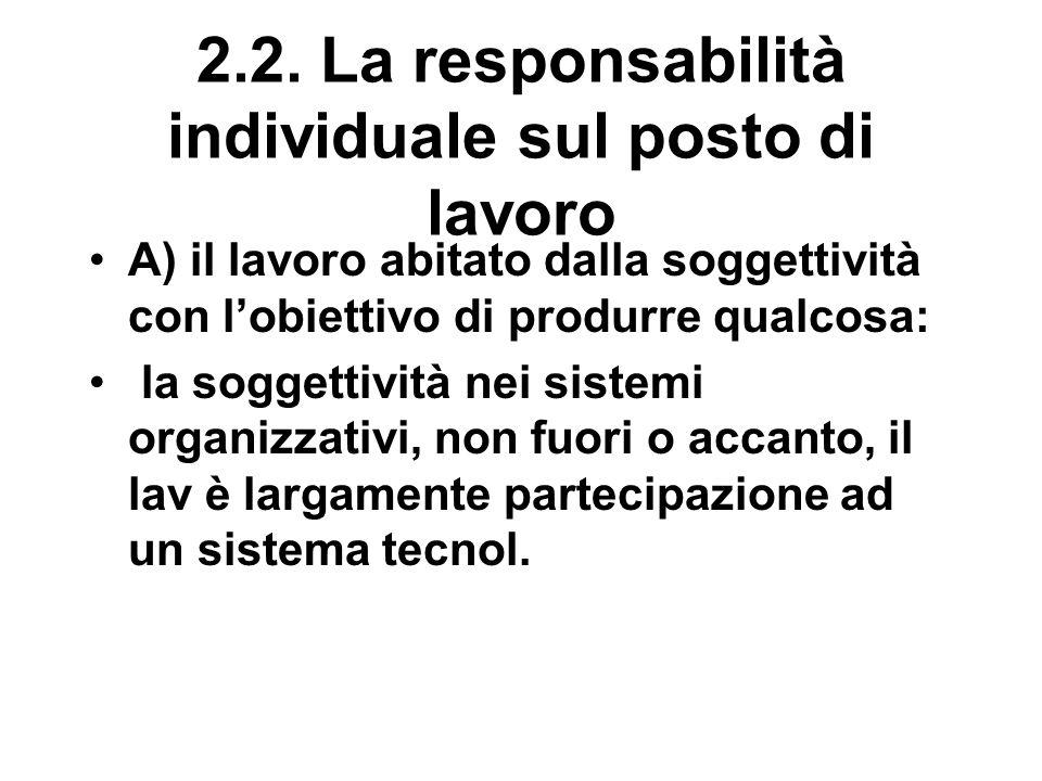 2.2. La responsabilità individuale sul posto di lavoro A) il lavoro abitato dalla soggettività con l'obiettivo di produrre qualcosa: la soggettività n