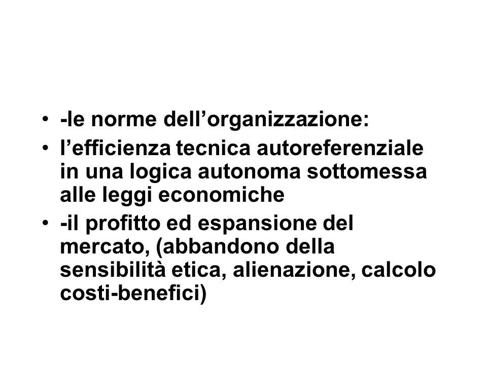 -le norme dell'organizzazione: l'efficienza tecnica autoreferenziale in una logica autonoma sottomessa alle leggi economiche -il profitto ed espansione del mercato, (abbandono della sensibilità etica, alienazione, calcolo costi-benefici)