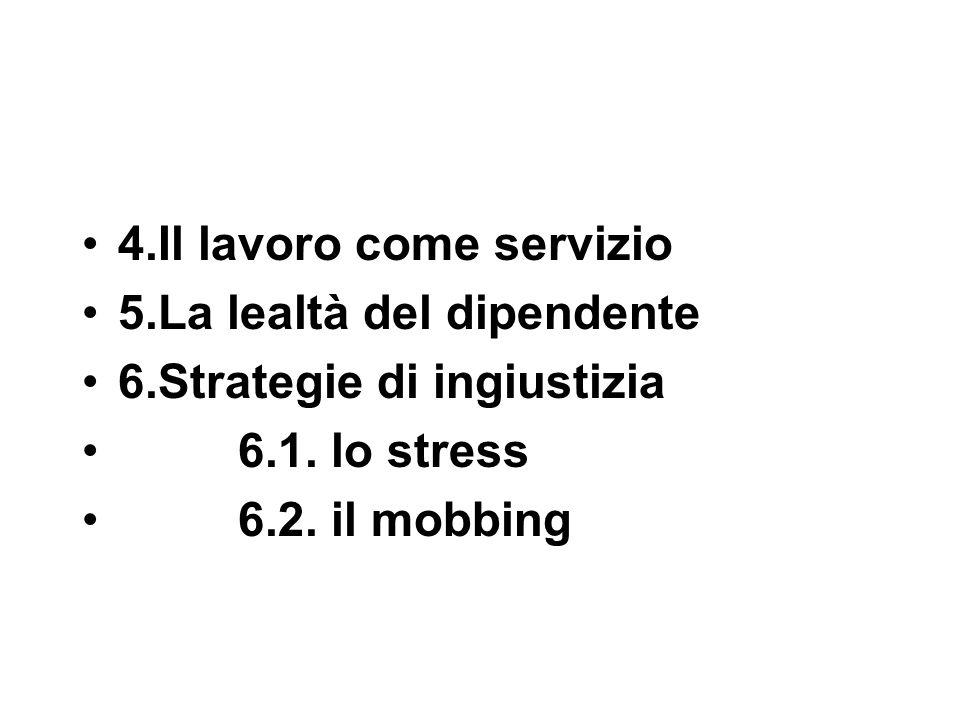 4.Il lavoro come servizio 5.La lealtà del dipendente 6.Strategie di ingiustizia 6.1.