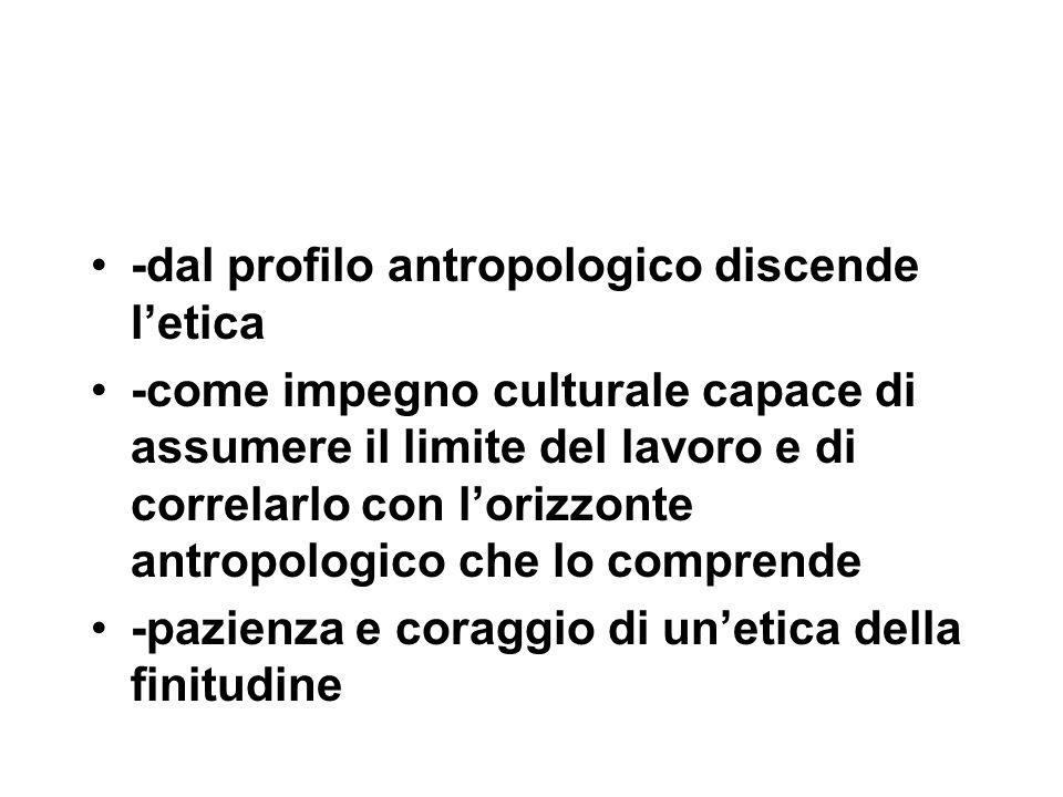 -dal profilo antropologico discende l'etica -come impegno culturale capace di assumere il limite del lavoro e di correlarlo con l'orizzonte antropologico che lo comprende -pazienza e coraggio di un'etica della finitudine