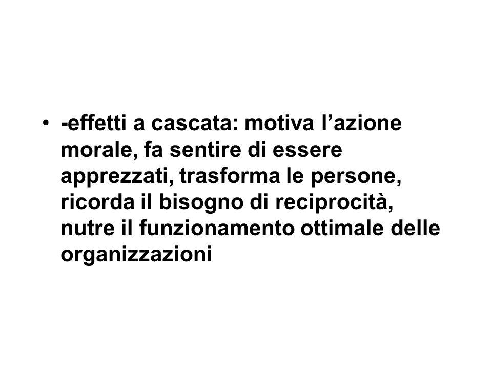 -effetti a cascata: motiva l'azione morale, fa sentire di essere apprezzati, trasforma le persone, ricorda il bisogno di reciprocità, nutre il funzionamento ottimale delle organizzazioni