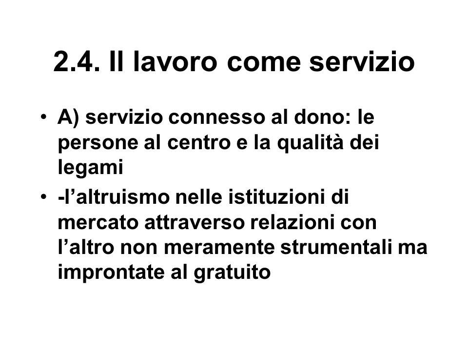 2.4. Il lavoro come servizio A) servizio connesso al dono: le persone al centro e la qualità dei legami -l'altruismo nelle istituzioni di mercato attr
