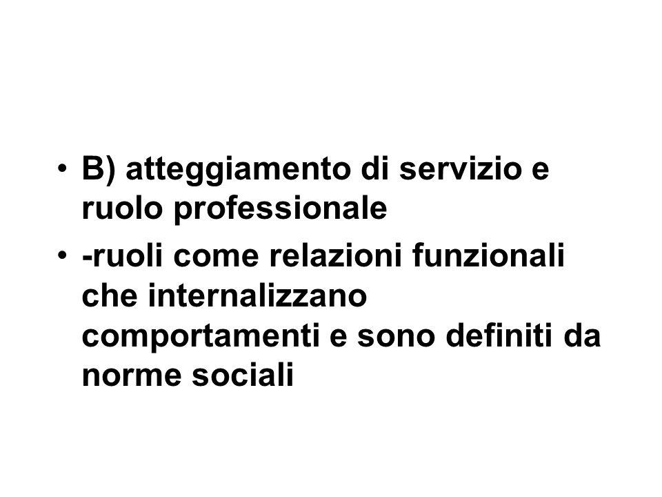 B) atteggiamento di servizio e ruolo professionale -ruoli come relazioni funzionali che internalizzano comportamenti e sono definiti da norme sociali