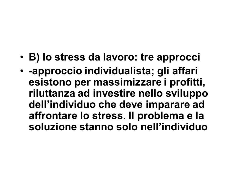 B) lo stress da lavoro: tre approcci -approccio individualista; gli affari esistono per massimizzare i profitti, riluttanza ad investire nello sviluppo dell'individuo che deve imparare ad affrontare lo stress.