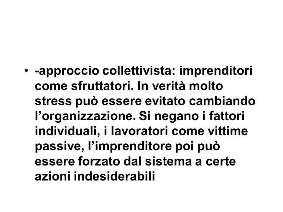 -approccio collettivista: imprenditori come sfruttatori.
