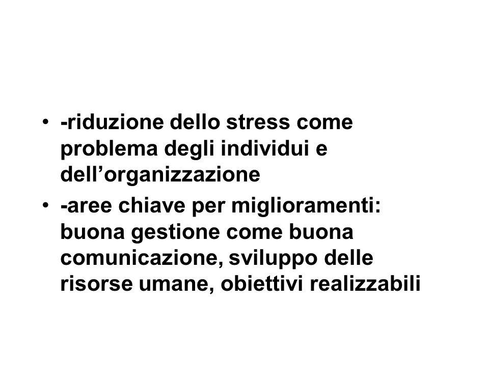 -riduzione dello stress come problema degli individui e dell'organizzazione -aree chiave per miglioramenti: buona gestione come buona comunicazione, sviluppo delle risorse umane, obiettivi realizzabili