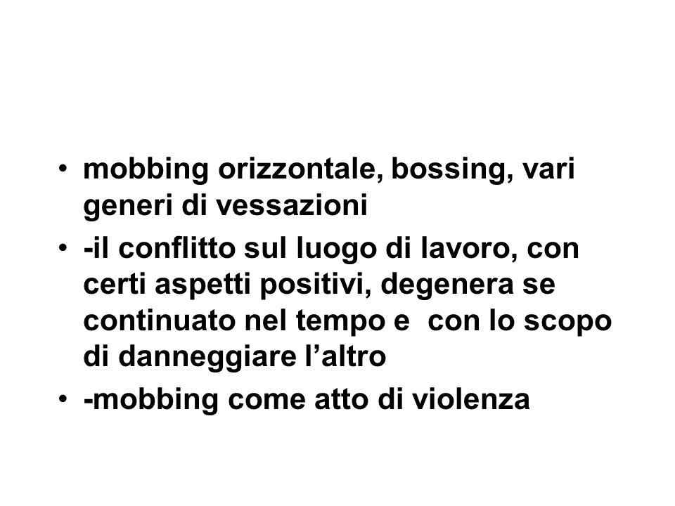 mobbing orizzontale, bossing, vari generi di vessazioni -il conflitto sul luogo di lavoro, con certi aspetti positivi, degenera se continuato nel tempo e con lo scopo di danneggiare l'altro -mobbing come atto di violenza