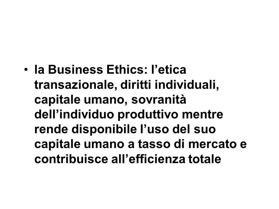 la Business Ethics: l'etica transazionale, diritti individuali, capitale umano, sovranità dell'individuo produttivo mentre rende disponibile l'uso del suo capitale umano a tasso di mercato e contribuisce all'efficienza totale