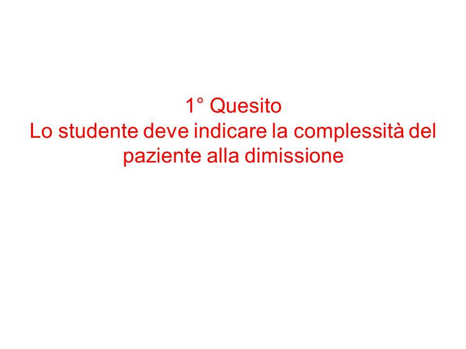 1° Quesito Lo studente deve indicare la complessità del paziente alla dimissione