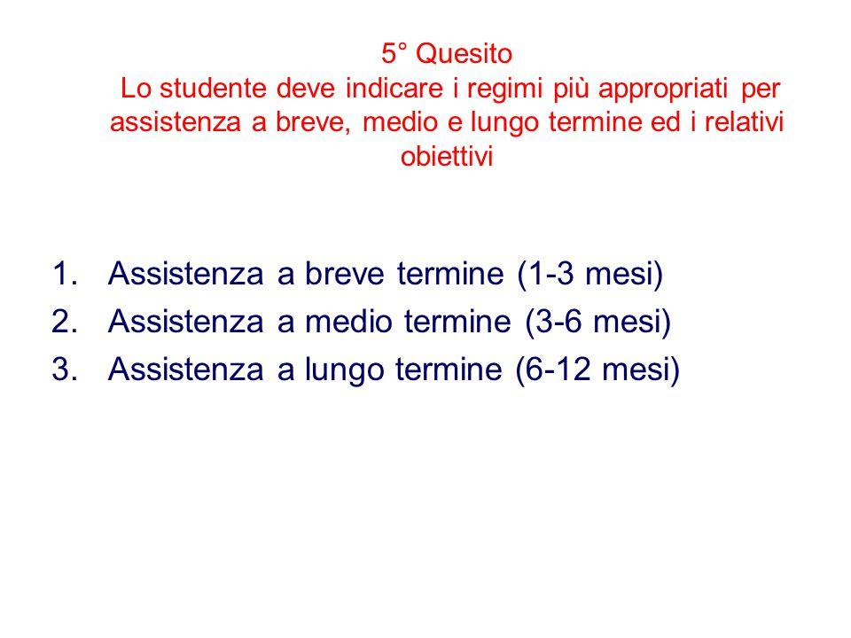 5° Quesito Lo studente deve indicare i regimi più appropriati per assistenza a breve, medio e lungo termine ed i relativi obiettivi 1.Assistenza a breve termine (1-3 mesi) 2.Assistenza a medio termine (3-6 mesi) 3.Assistenza a lungo termine (6-12 mesi)