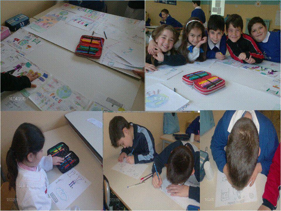 Gli alunni lavorano alla preparazione di un cartellone sui diritti sanciti dalla Convenzione O.N.U.