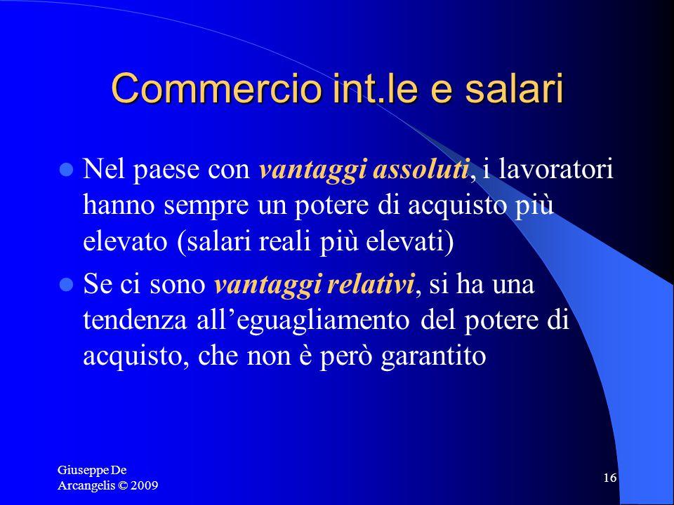 Giuseppe De Arcangelis © 2009 15 Vantaggi assoluti, comparati e salari Poiché vige la concorrenza perfetta anche sul mercato del lavoro, il salario re