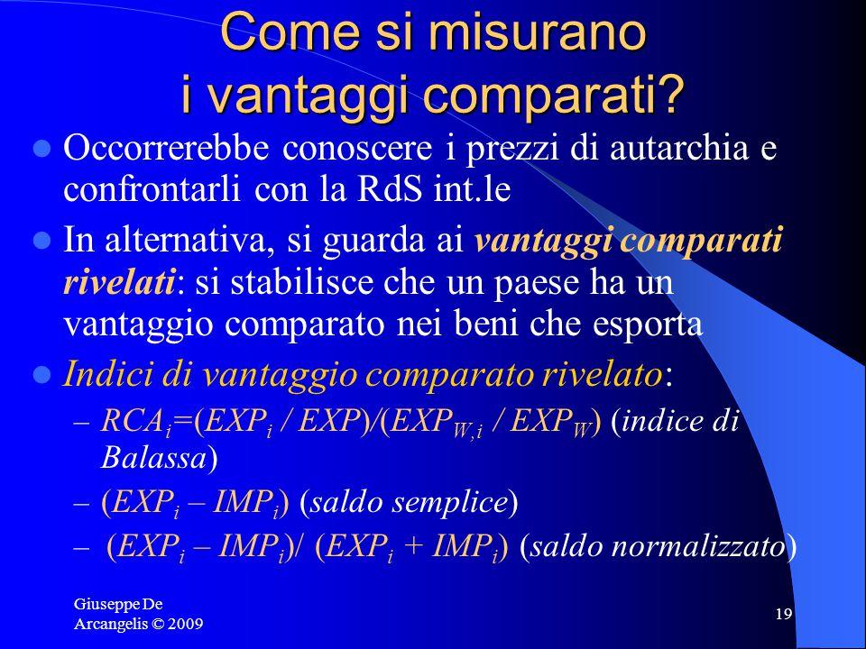 Giuseppe De Arcangelis © 2009 18 Sommario Secondo la teoria di Ricardo dei costi comparati il commercio internazionale dipende dalle differenze tecnol
