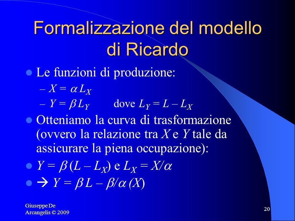Giuseppe De Arcangelis © 2009 19 Come si misurano i vantaggi comparati? Occorrerebbe conoscere i prezzi di autarchia e confrontarli con la RdS int.le