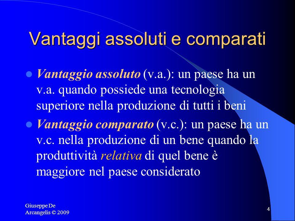 Giuseppe De Arcangelis © 2009 4 Vantaggi assoluti e comparati Vantaggio assoluto (v.a.): un paese ha un v.a.