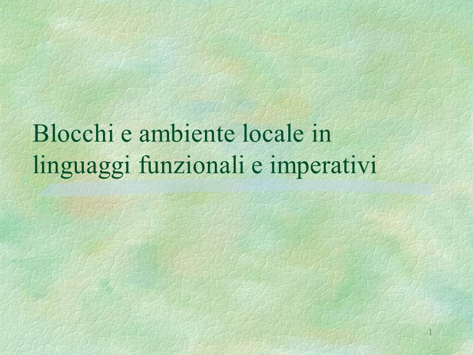 32 Le strutture dell'interprete iterativo 1 let cframesize(e) = 20 let tframesize(e) = 20 let tdframesize(e) = 20 let stacksize = 100 type labeledconstruct = | Expr1 of exp | Expr2 of exp | Exprd1 of exp | Exprd2 of exp | Com1 of com | Com2 of com | Coml of labeledconstruct list | Dec1 of ide * exp | Dec2 of ide * exp | Decl of labeledconstruct list let (cstack: labeledconstruct stack stack) = emptystack(stacksize,emptystack(1,Expr1(Eint(0)))) let (tempvalstack: eval stack stack) = emptystack(stacksize,emptystack(1,Novalue)) let (tempdvalstack: dval stack stack) = emptystack(stacksize,emptystack(1,Unbound)) let envstack = emptystack(stacksize,(emptyenv Unbound)) let storestack = emptystack(stacksize,(emptystore Undefined)) let (labelstack: labeledconstruct stack) = emptystack(stacksize,Expr1(Eint(0)))