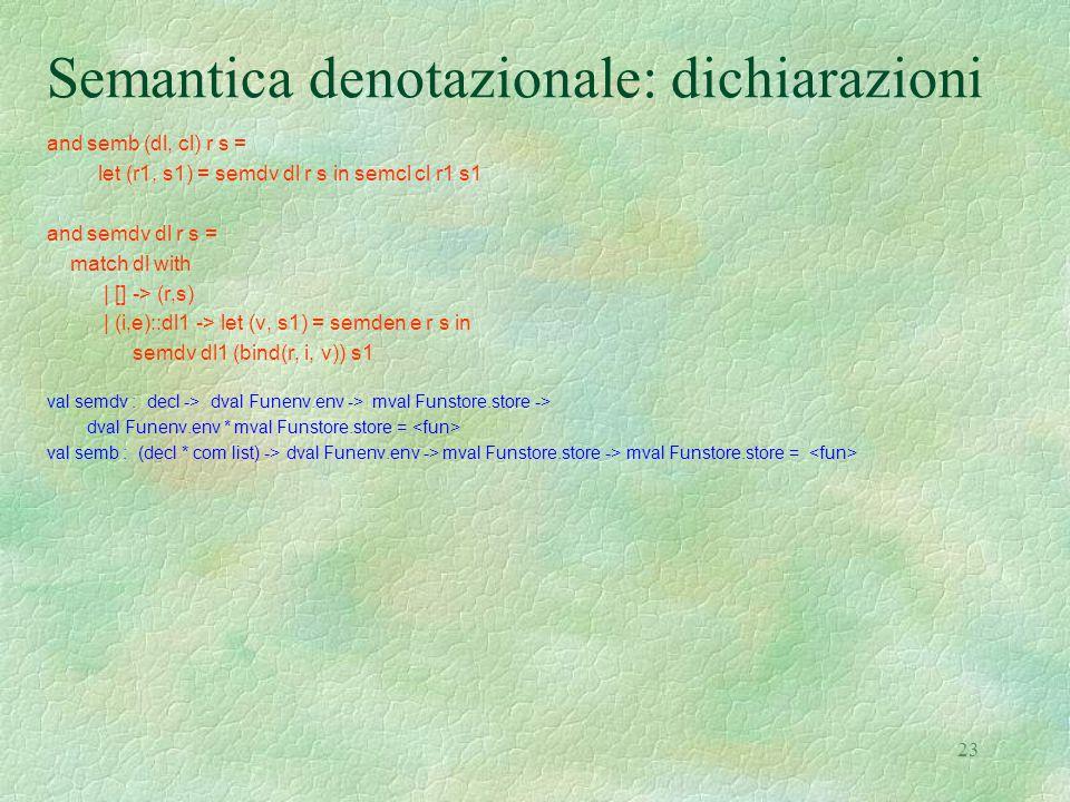 23 Semantica denotazionale: dichiarazioni and semb (dl, cl) r s = let (r1, s1) = semdv dl r s in semcl cl r1 s1 and semdv dl r s = match dl with | [] -> (r,s) | (i,e)::dl1 -> let (v, s1) = semden e r s in semdv dl1 (bind(r, i, v)) s1 val semdv : decl -> dval Funenv.env -> mval Funstore.store -> dval Funenv.env * mval Funstore.store = val semb : (decl * com list) -> dval Funenv.env -> mval Funstore.store -> mval Funstore.store =
