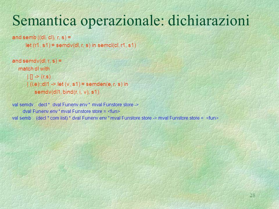 28 Semantica operazionale: dichiarazioni and semb ((dl, cl), r, s) = let (r1, s1) = semdv(dl, r, s) in semcl(cl, r1, s1) and semdv(dl, r, s) = match dl with | [] -> (r,s) | (i,e)::dl1 -> let (v, s1) = semden(e, r, s) in semdv(dl1, bind(r, i, v), s1) val semdv : decl * dval Funenv.env * mval Funstore.store -> dval Funenv.env * mval Funstore.store = val semb : (decl * com list) * dval Funenv.env * mval Funstore.store -> mval Funstore.store =