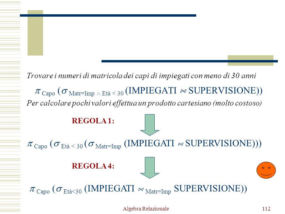 Algebra Relazionale112 Trovare i numeri di matricola dei capi di impiegati con meno di 30 anni  Capo (  Matr=Imp  Età < 30 (IMPIEGATI  SUPERVISION