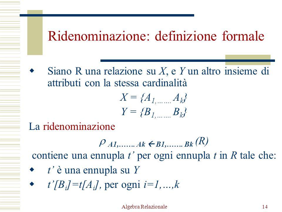Algebra Relazionale14 Ridenominazione: definizione formale  Siano R una relazione su X, e Y un altro insieme di attributi con la stessa cardinalità X