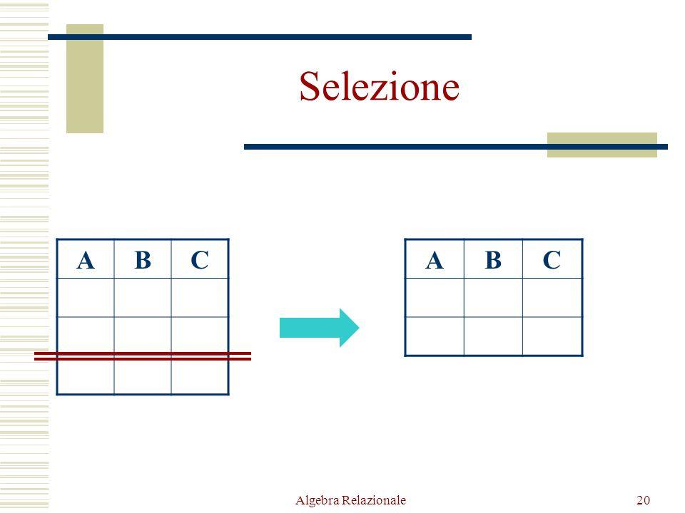 Algebra Relazionale20 Selezione ABC ABC