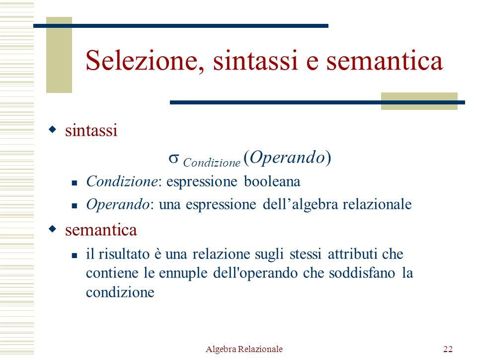 Algebra Relazionale22 Selezione, sintassi e semantica  sintassi  Condizione (Operando) Condizione: espressione booleana Operando: una espressione de